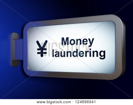 Banking concept: Money Laundering and Yen on billboard background