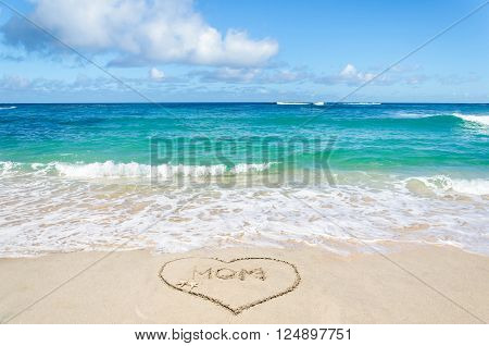 Mothers day background on the sandy beach