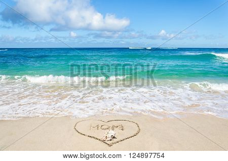 Mother's day background on the sandy beach