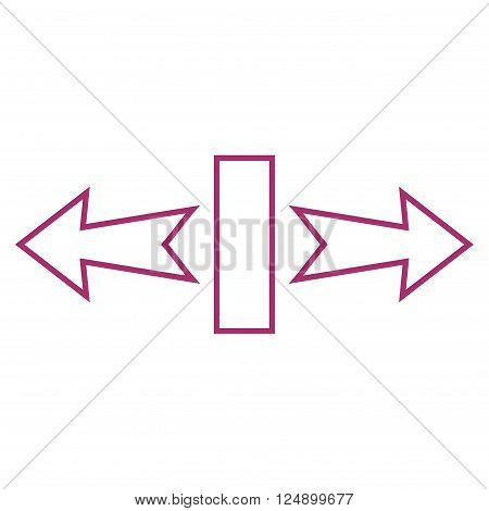 Stretch Arrows Horizontally vector icon. Style is outline icon symbol, purple color, white background.
