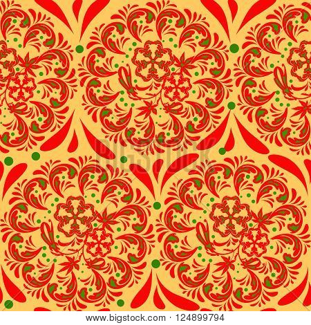 The traditional Russian floral seamless background red and green on gold or yellow. Stylization khokhloma. Vector illustration.