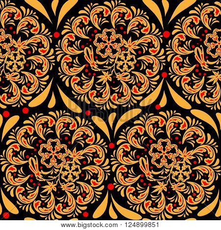 The traditional Russian floral seamless background red and yellow on black. Stylization khokhloma. Vector illustration. EPS 8.