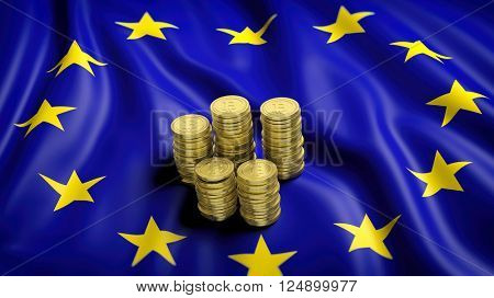 Flag of European Union with golden Bitcoin stacks. 3D rendering