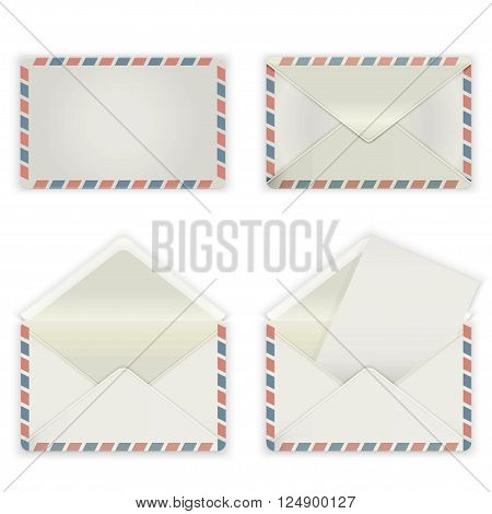 A set of four blank envelopes. The collection includes a front view rear view and open the envelope and the envelope with the letter. Vector illustration.