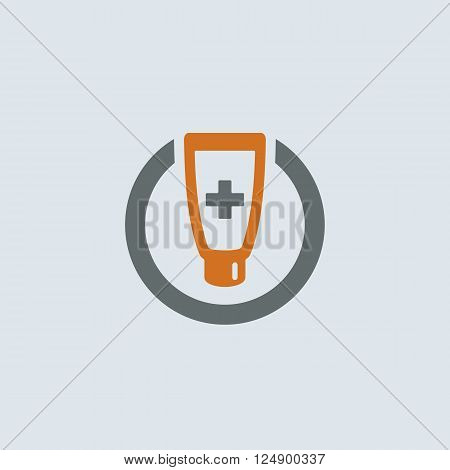 Gray-orange ointment tube with medical cross round web icon