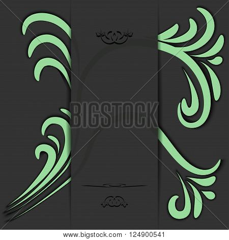 Abstract dark background with green accents. Vector illustration.