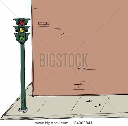 Stoplight Near Intersection And Brick Wall Cartoon Illustration