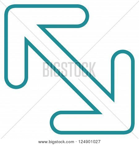 Flip Arrows Diagonal vector icon. Style is outline icon symbol, soft blue color, white background.