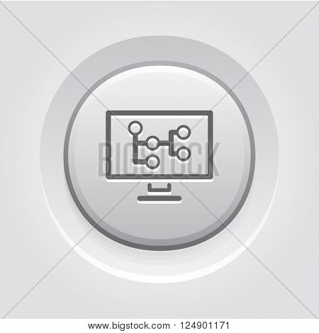 Mind Map Icon. Business Concept. Grey Button Design
