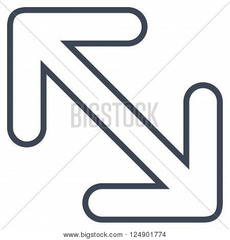 Flip Arrows Diagonal vector icon. Style is outline icon symbol, smooth blue color, white background.