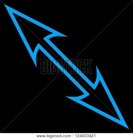 Size Arrow Diagonal vector icon. Style is stroke icon symbol, blue color, black background.