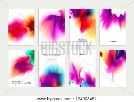 Set of Templates with Watercolor Splashes. Holi Paint Texture. Abstract Bright Colorful Banners Collection. Rainbow Colored Cards Design.