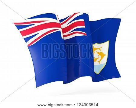 Waving Flag Of Anguilla. 3D Illustration