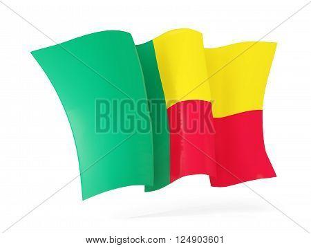 Waving Flag Of Benin. 3D Illustration