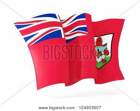 Waving flag of bermuda isolated on white. 3D illustration