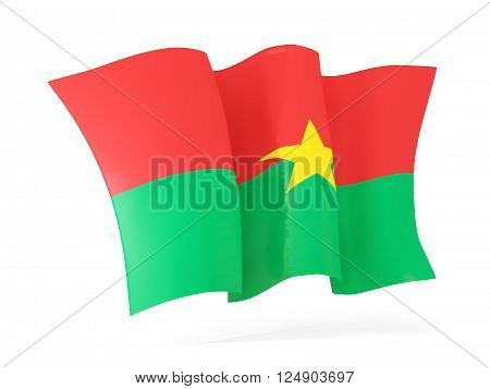 Waving Flag Of Burkina Faso. 3D Illustration