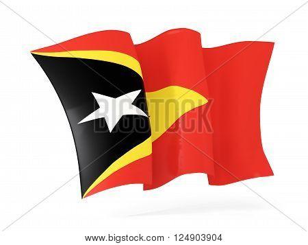 Waving Flag Of East Timor. 3D Illustration