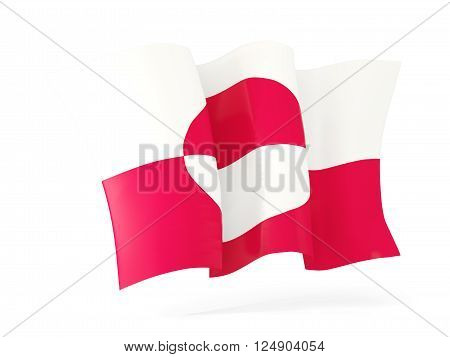 Waving Flag Of Greenland. 3D Illustration