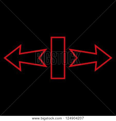 Stretch Arrows Horizontally vector icon. Style is outline icon symbol, red color, black background.