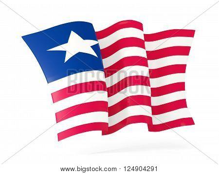 Waving Flag Of Liberia. 3D Illustration