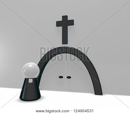 simple pastor figure and christian cross symbol - 3d illustration