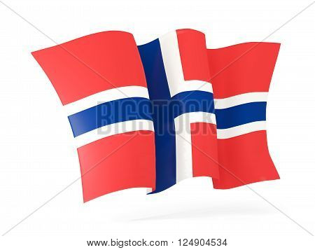 Waving Flag Of Norway. 3D Illustration