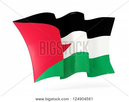 Waving Flag Of Palestinian Territory. 3D Illustration
