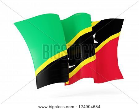 Waving Flag Of Saint Kitts And Nevis. 3D Illustration