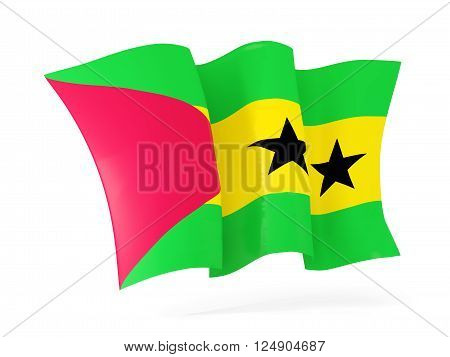 Waving flag of sao tome and principe isolated on white. 3D illustration