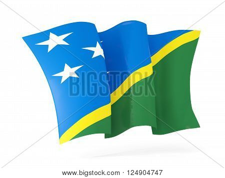 Waving Flag Of Solomon Islands. 3D Illustration