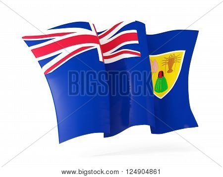 Waving flag of turks and caicos islands isolated on white. 3D illustration