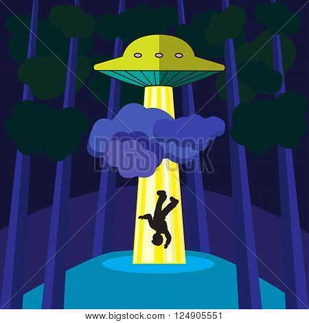 UFO attack on the man and kidnapping in a pine forest at night vector illustration