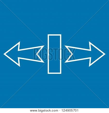 Stretch Arrows Horizontally vector icon. Style is thin line icon symbol, white color, blue background.