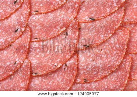 thin slices of spicy salami - full frame