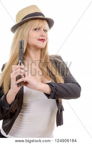 Sexy blond woman with handgun isolated on white background