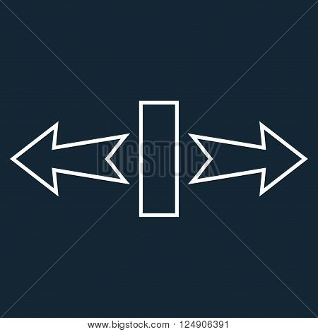 Stretch Arrows Horizontally vector icon. Style is thin line icon symbol, white color, dark blue background.