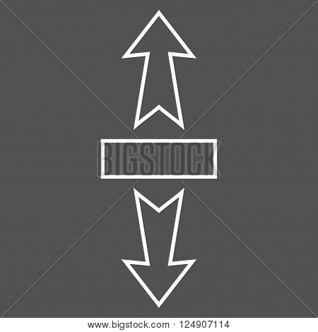 Stretch Arrows Vertically vector icon. Style is thin line icon symbol, white color, gray background.