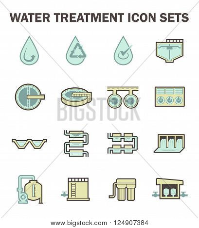 Water treatment vector icon sets design on white.