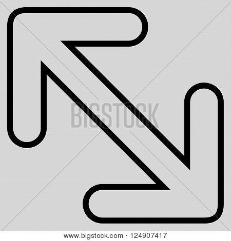 Flip Arrows Diagonal vector icon. Style is stroke icon symbol, black color, light gray background.