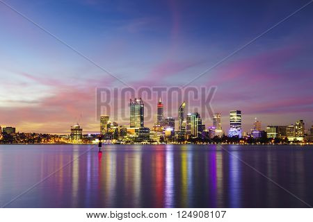 Perth city skyline at sunset shot from the South Perth foreshore.