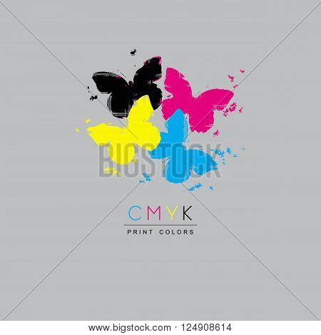 Logo CMYK color model design concept on white background. Four multicolored butterflies. Printing technology emblem.