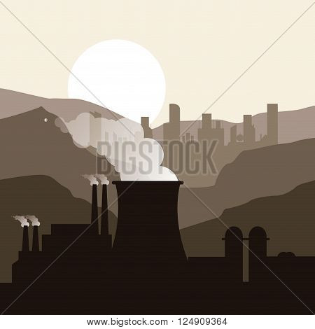 nuclear plant concept with icon design, vector illustration 10 eps graphic.