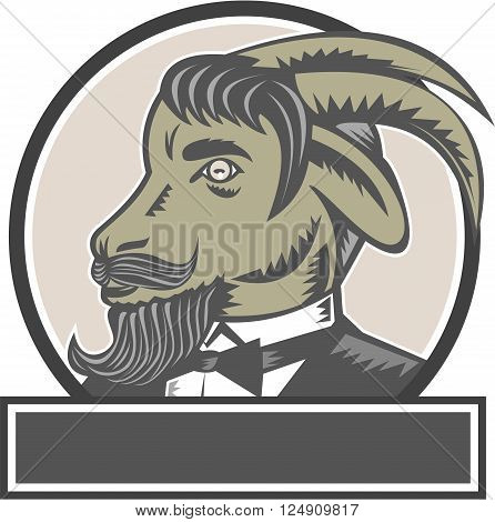 Illustration of a goat ram head with big horns and moustache beard wearing tuxedo suit looking to the side set inside circle done in retro woodcut style.
