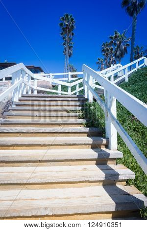 Beach stairway in at Windansea Beach in La Jolla