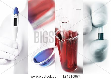 Medical photo collage (laboratory tests and infection)