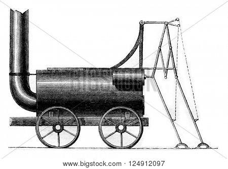 Legs locomotive, Brunton 1813, vintage engraved illustration. Magasin Pittoresque 1861.