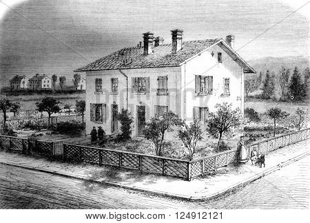 Housing estates of Mulhouse, Pavilion for four households, vintage engraved illustration. Magasin Pittoresque 1861.