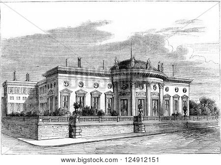 The Palace of the Legion of Honour, on the Quai d'Orsay in Paris, vintage engraved illustration. Magasin Pittoresque 1861.