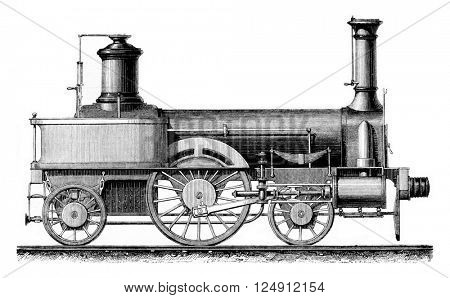 Locomotive travelers, average speed, vintage engraved illustration. Magasin Pittoresque 1861.