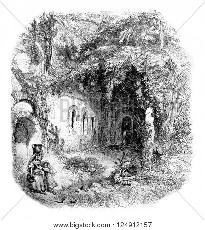 The Grotto of Egeria near Rome, vintage engraved illustration. Magasin Pittoresque 1861.